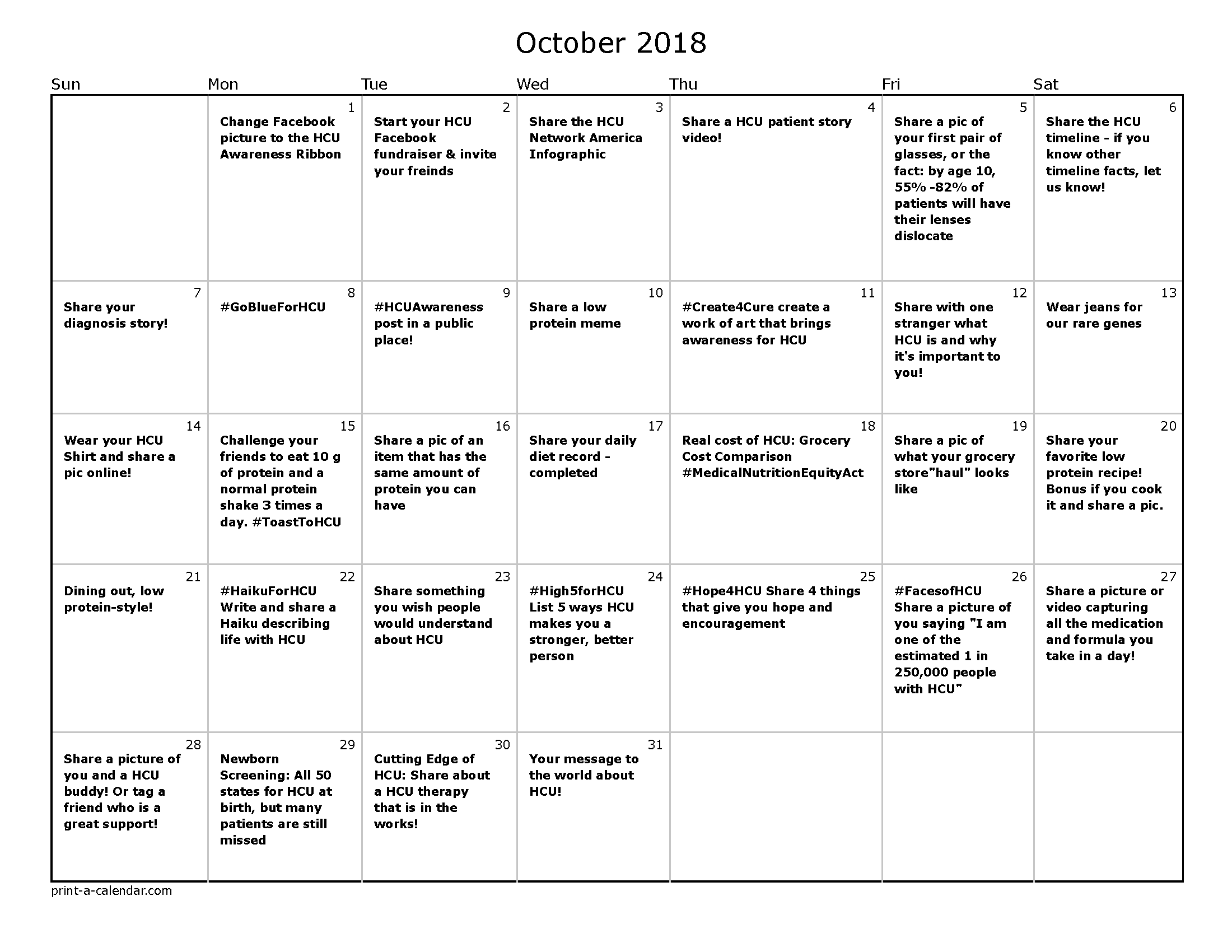 October 2018 Calendar _ Horizontal