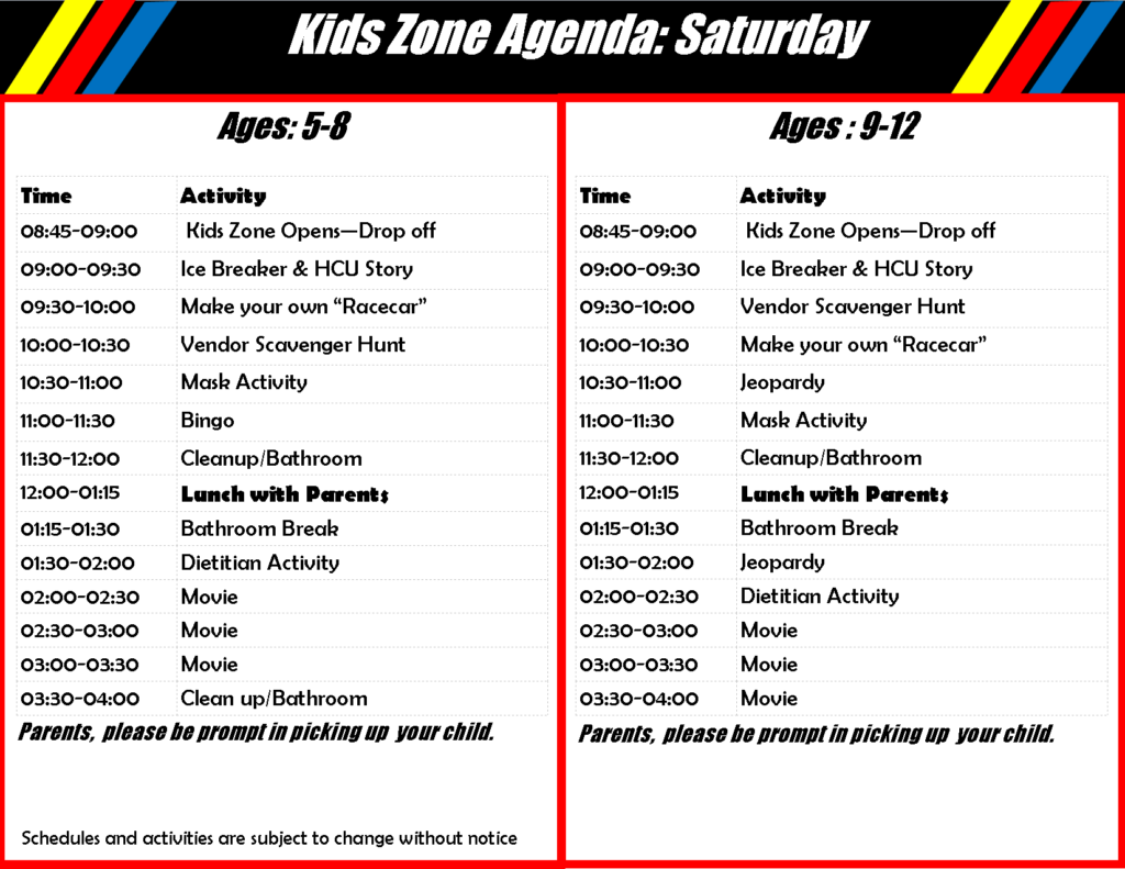 Children's Program Schedule Saturday