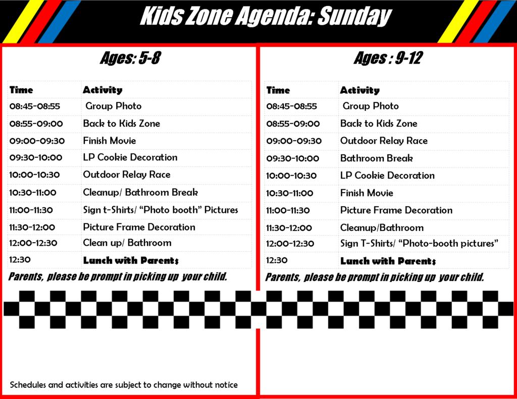 Children's Program Schedule Sunday